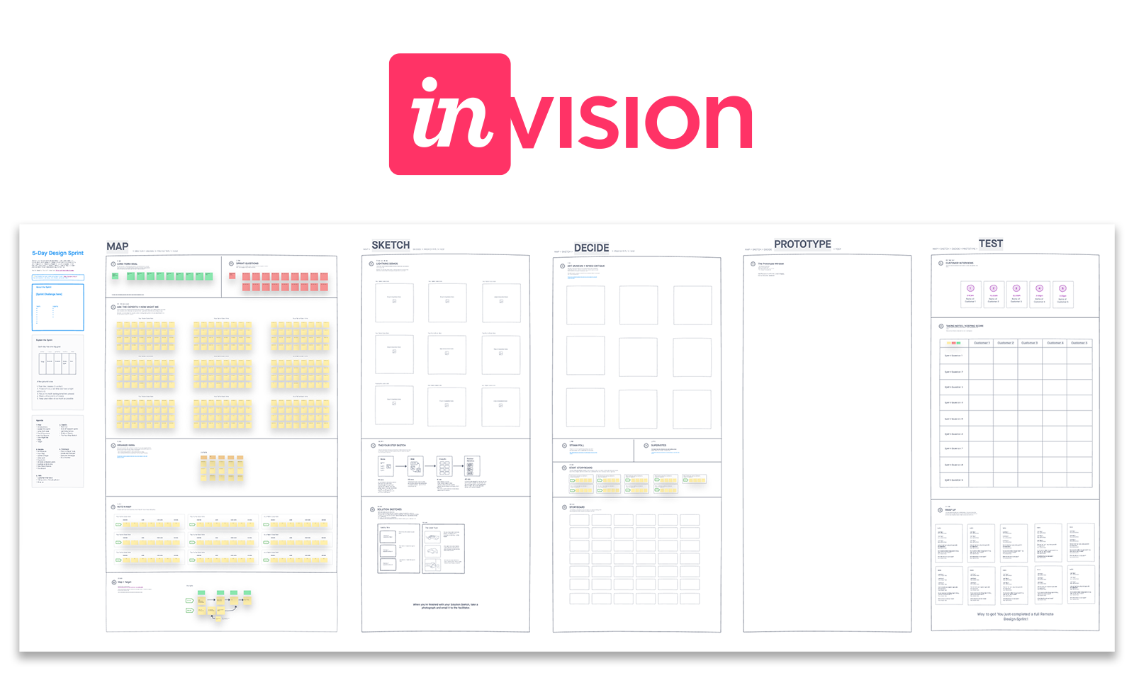 The official Design Sprint template Template for Invision Freehand