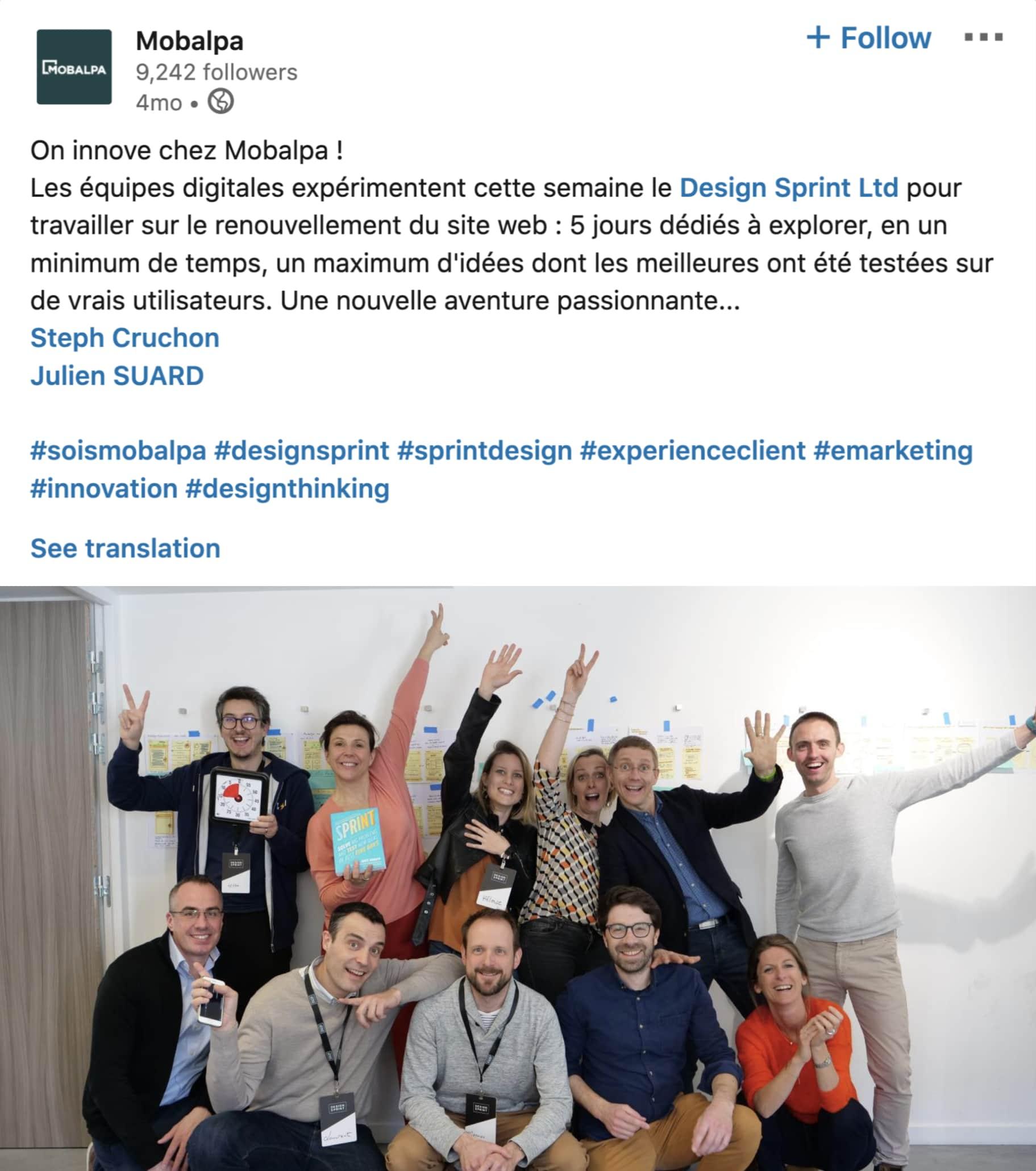 positive testimonial client Design Sprint